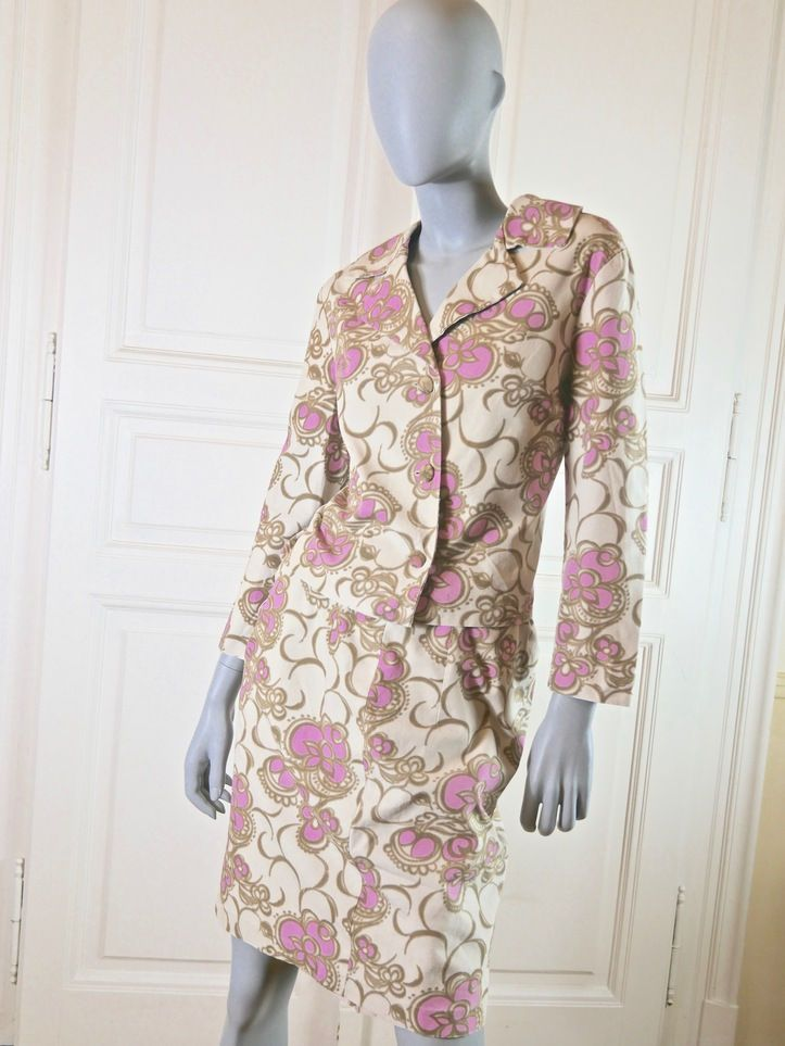 French Vintage Abstract Floral Suit Ivory Pink Dress Suit Cream