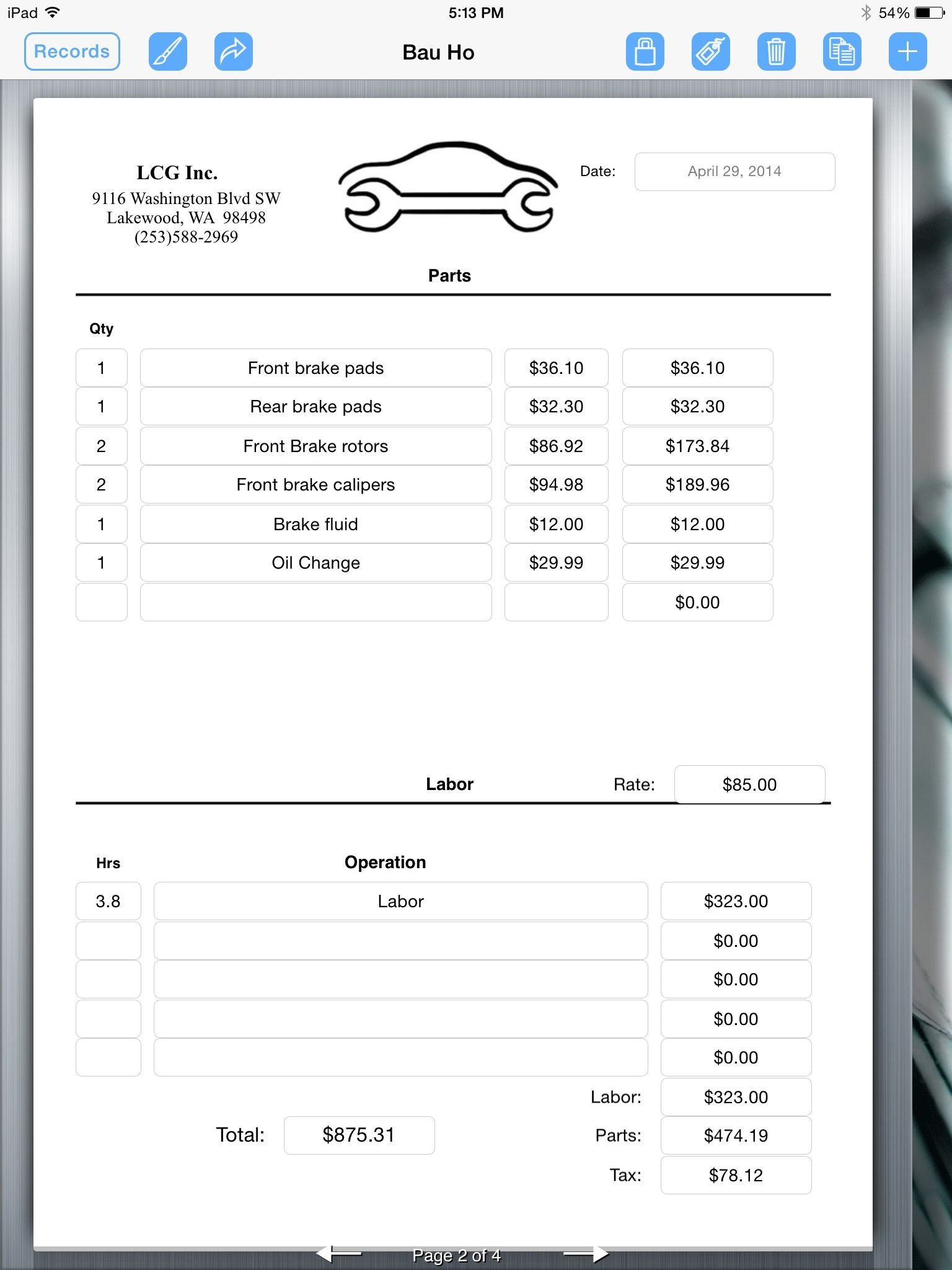 auto repair invoice auto repair service uses ipad for