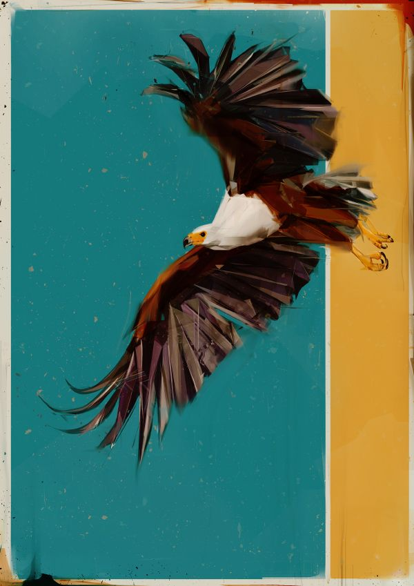 Denis Gonchar's digitally-painted works capture the essence of birds in flight.
