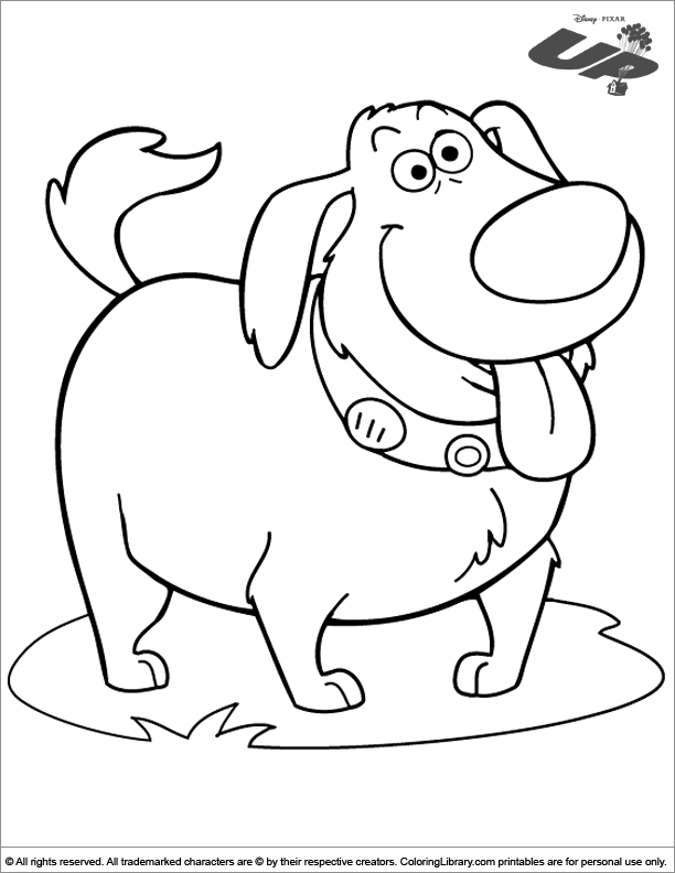 The Cute Dog From The Movie Up Coloring Page Coloring Books Coloring Pages Dog Coloring Page