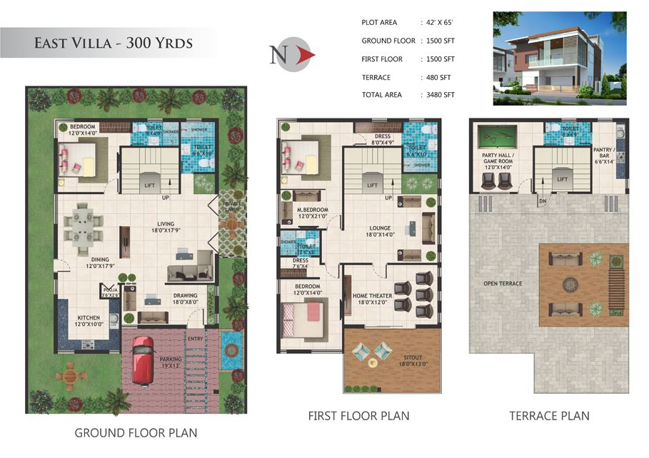 Gayatri gardens 300 Yards Villas Floor Plan | Modern in 2019