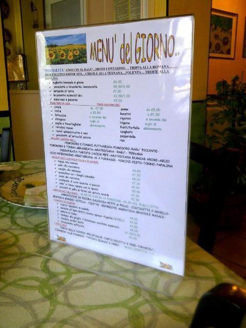 Il menù del ristorante Giancarla, Magliano Sabina