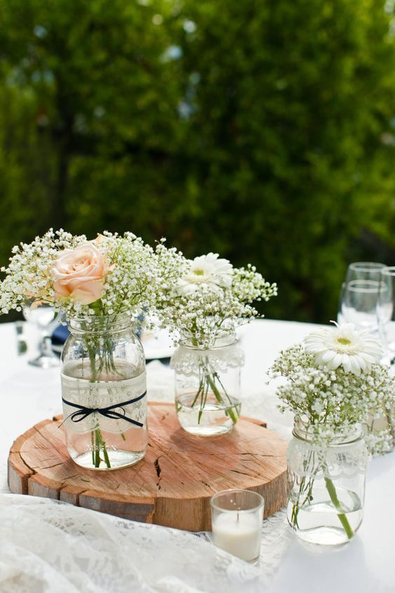 Handmade white birch wood mason jar center pieces garden