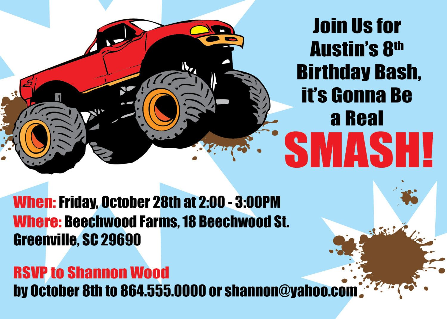 free printable monster truck birthday