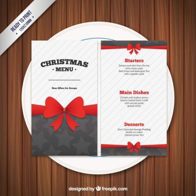 Christmas menu template with a ribbon Free Vector Christmas 2017 - free xmas menu templates