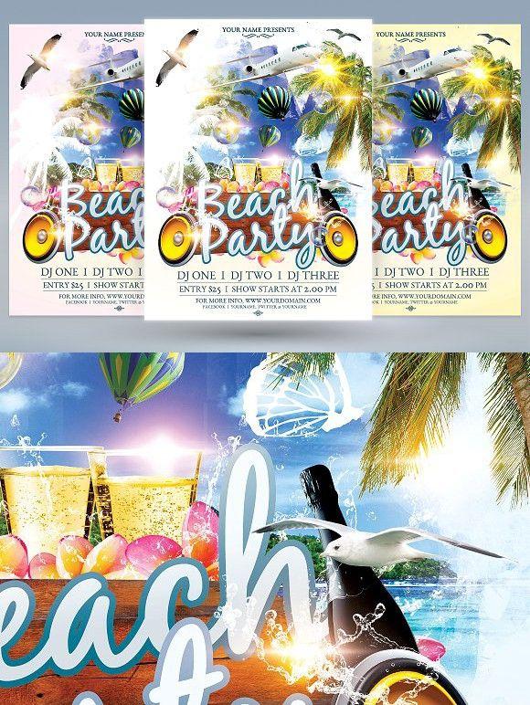 Beach Party Flyer Templates Flyer Templates Pinterest Flyer