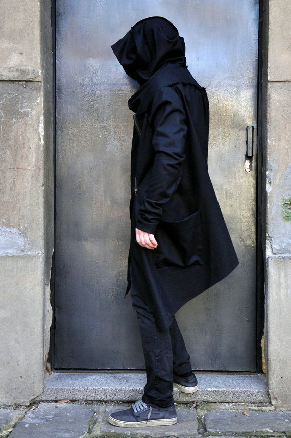 Black Casha - Wool Extra Long Sleeves Men&39s Coat / Extravagant