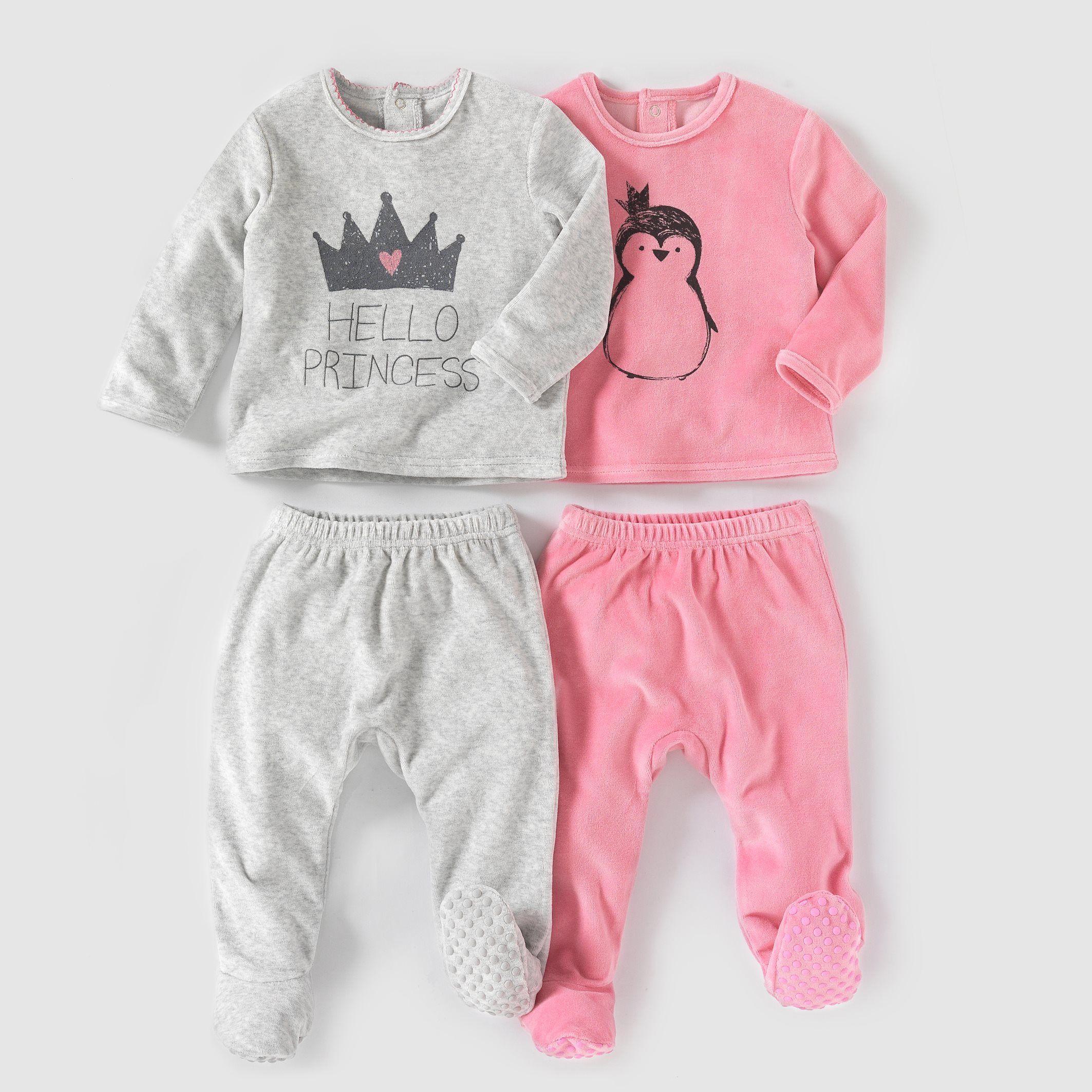cdc180aa6432f Pyjama 2 pièces velours (lot de 2) 0 mois-3 ans R Mini rose gris +  gris rose