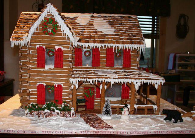 Log Cabin Gingerbread House Christmas Decor Pinterest