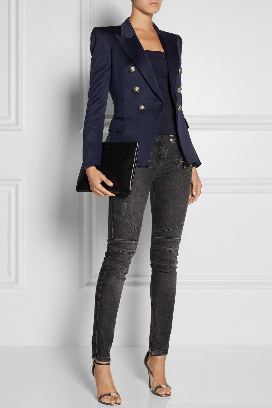97b7d519 Balmain | Blazer en gabardine de laine | NET-A-PORTER.COM | Net A ...