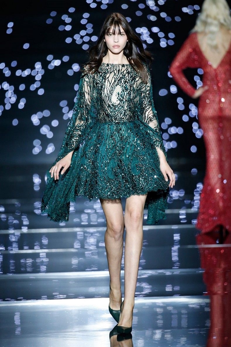 Zuhair Murad 2016 Haute Couture Collection - Short green dress with ...