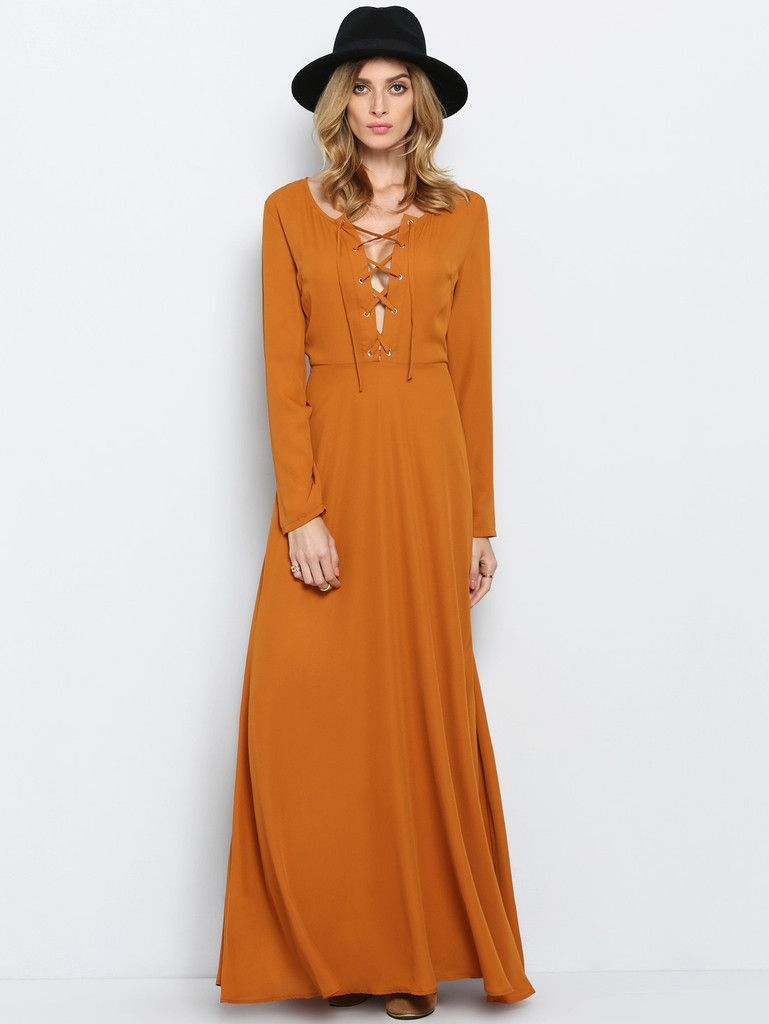 Brown long sleeve lace up maxi dress fashion pinterest maxi