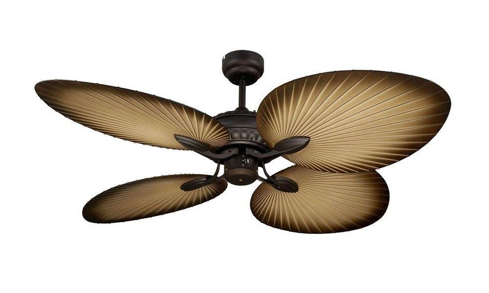 Oasis Modern 1300mm 4 Palm Leaf Blade Old Bronze Ceiling Fan