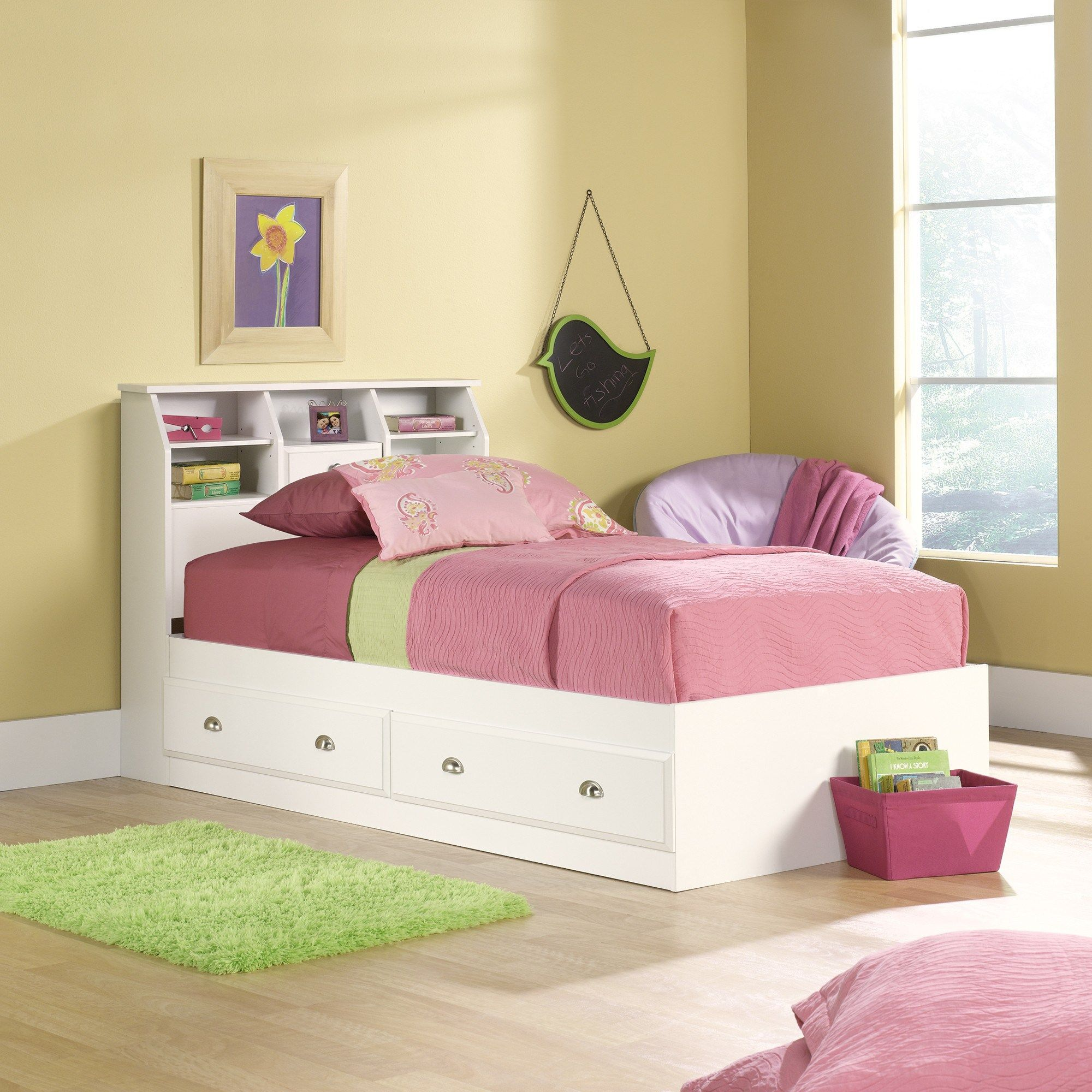 Fresh White Twin Storage Bed With Bookcase Headboard Plain White