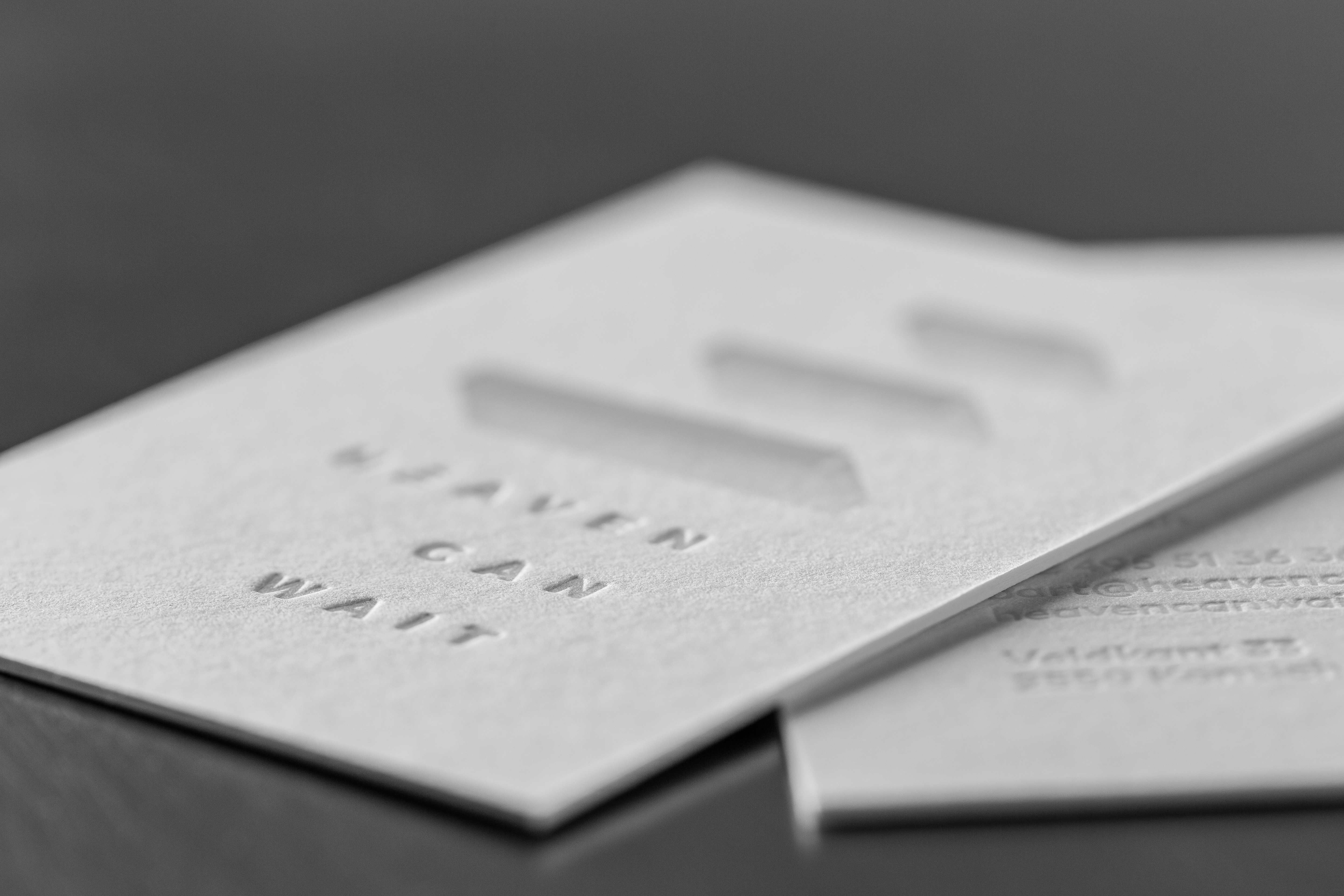 Business card heaven can wait white hotfoil on macho george paper business card heaven can wait white hotfoil on macho george paper proudly printed reheart Choice Image