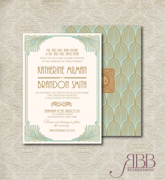 Pin by Stacey on Invitations Deco wedding invitations, Art deco