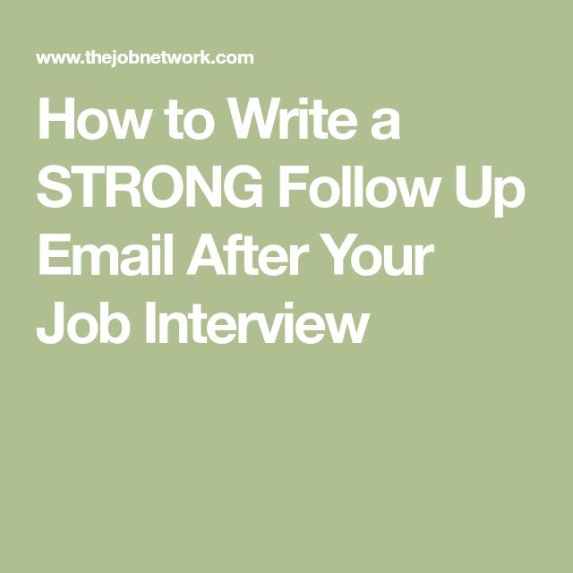 follow up email job interview