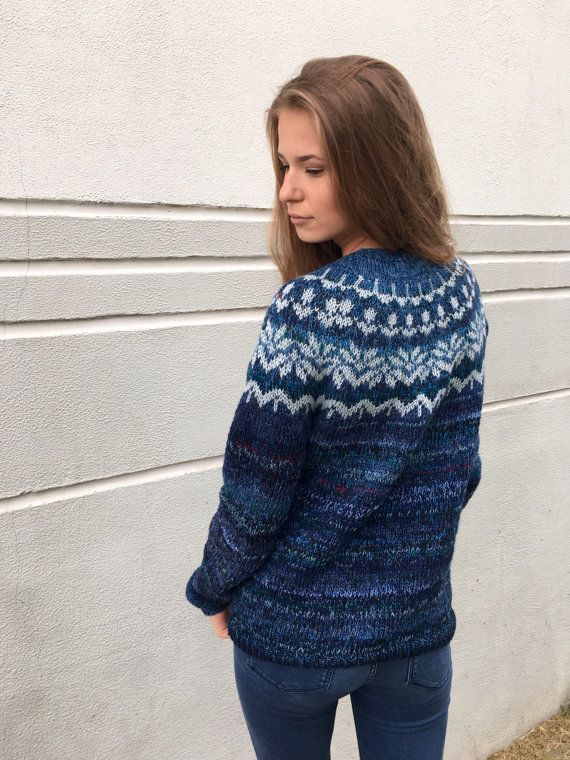 Cashmere sweater Blue sweater Fair Isle sweater Merino by adaLV ...