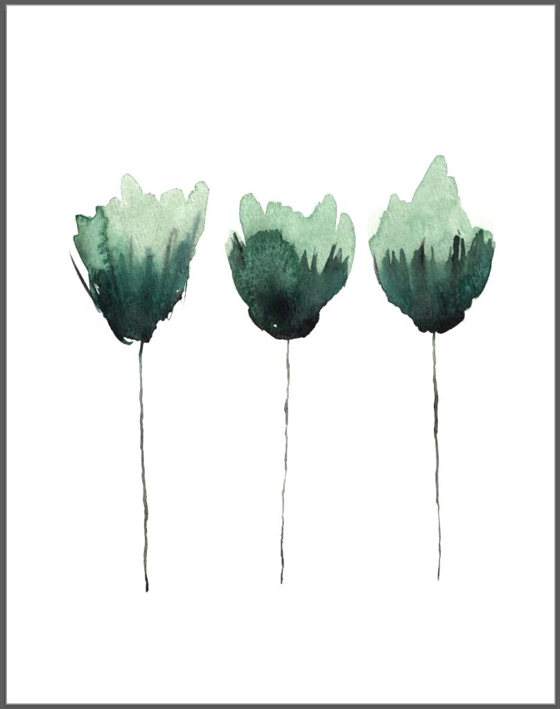 Simple watercolor flower, watercolor greenery, blooms ...