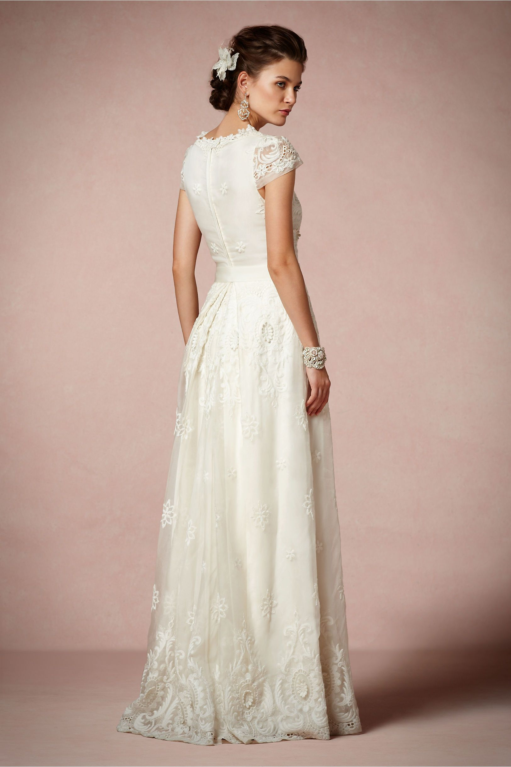 Rococo Gown from BHLDN... Short sleeves and covered back its more ...