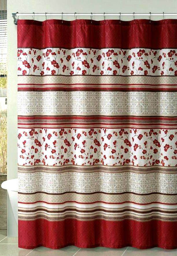 Comfort Bay Delancy Red Floral Embossed Fabric Shower Curtain