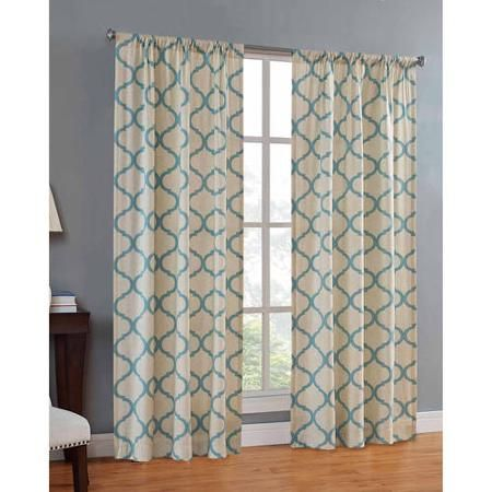 In \'teal\' or coral. Mainstays Canvas Iron Work Curtain Panel ...