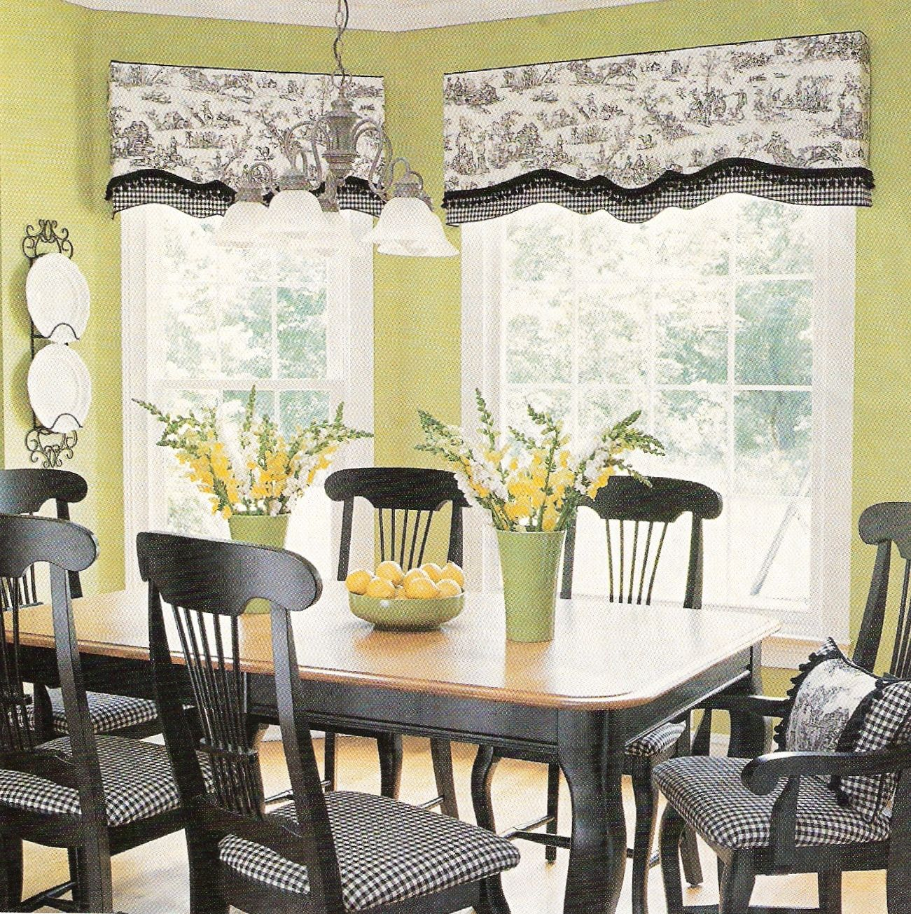 The Black White Toile Combined With The Gingham Check Give A Good Contrast To The Lime Green Walls The Fre White Dining Room Home Decor Fabric Dining Chairs