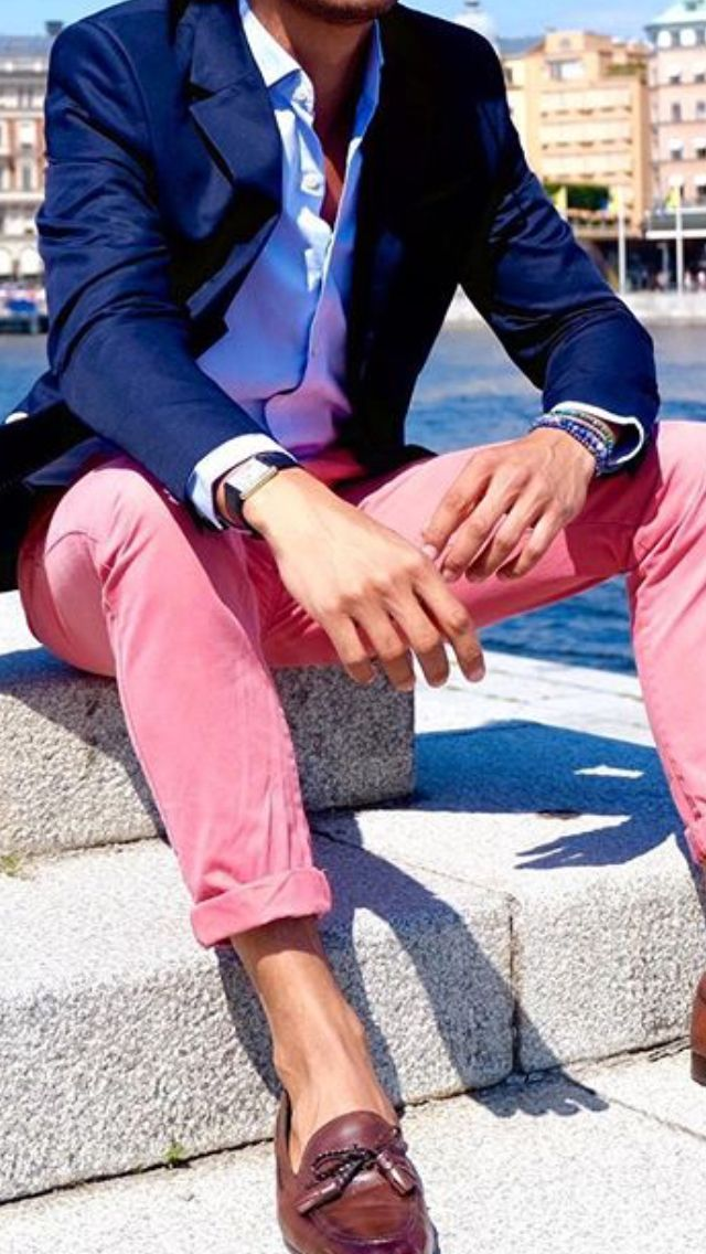 Pink Chinos Light Blue Shirt Navy Blue Blazer Brown Shoes Men Style Outfit Blazer Outfits Men Preppy Men Mens Outfits