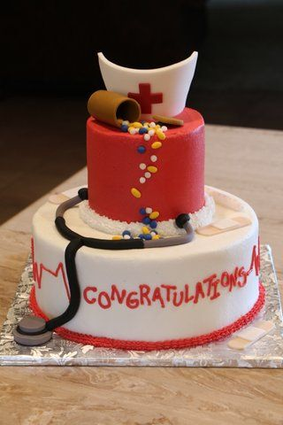 Nursing graduation cake with buttercream frosting and ...