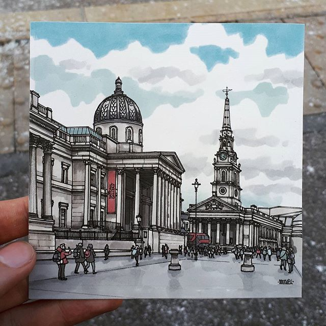 The National Gallery St Martin In The Fields Trafalgar Square A New Little London Postcard Architecture Drawing Architecture Sketch Watercolor Architecture
