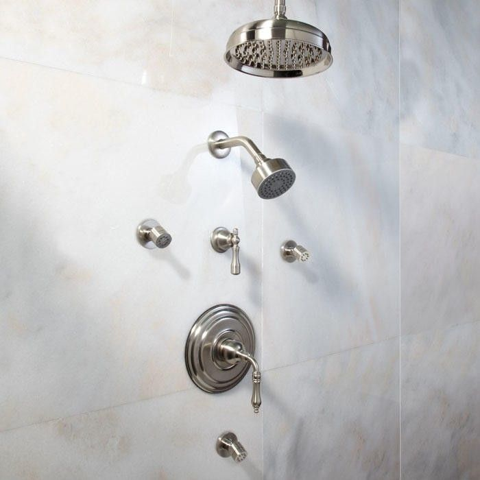 S Pressure Balance Shower System Dual Heads 3 Body Jets Lever Handle