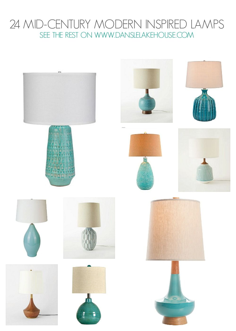 24 Stunning Mid Century Inspired Table Lamps   Lots Of Turquoise Table Lamps  In This