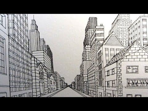 Cityscape Using One Point Perspective A Therapeutic Art Journey Perspective Art One Point Perspective Perspective Drawing Lessons