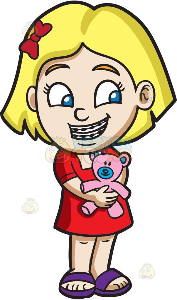 A Girl With Braces Hugging Her Teddy Cartoon Girl Drawing