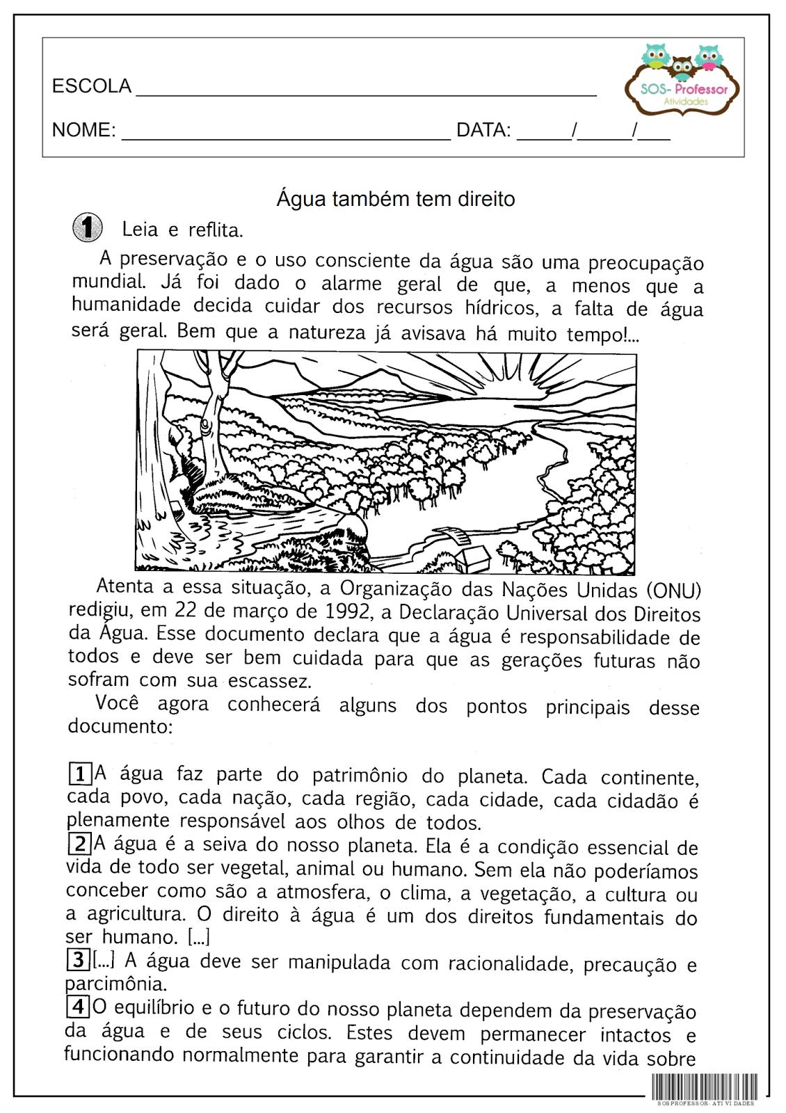 Super SOS PROFESSOR-ATIVIDADES: Água também tem direito | Educação  NR16