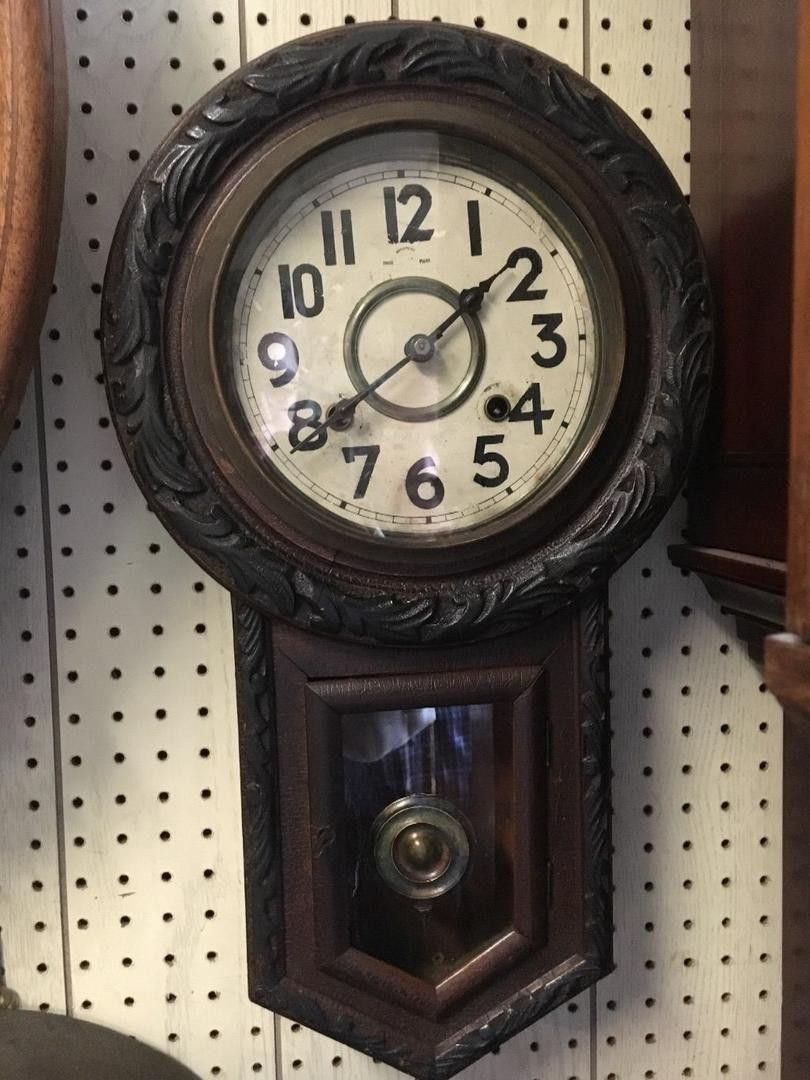 Eight Day Striking Carved Oak Regulator Schoolhouse Wall Clock Measuring 21 Inches High By 12 Inches Wide With A 7 Inch Dial Wall Clock Clock Antique Clocks
