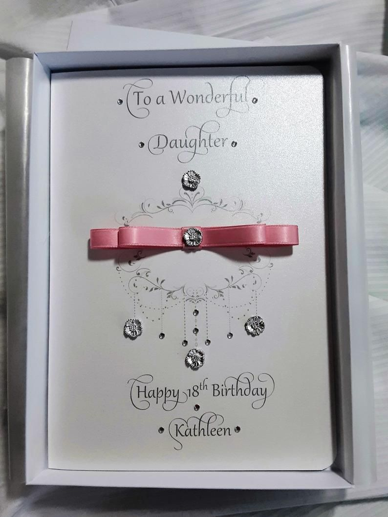 Luxury Personalised Birthday Card With Box Daughter Etsy Personalized Birthday Cards Personalized Birthday Birthday Cards