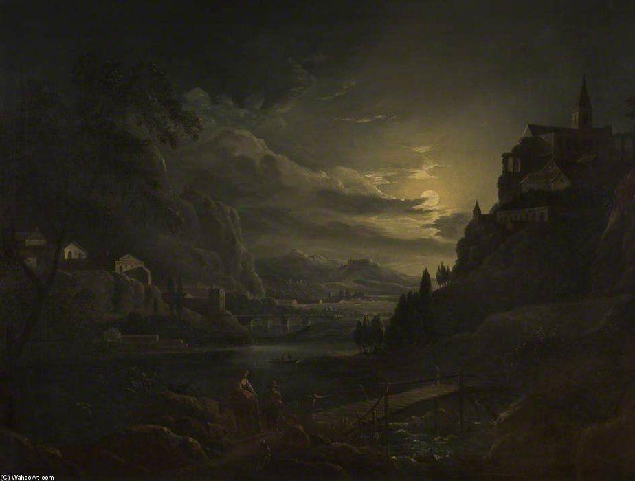 Paysage classique By Moonlight de Abraham Pether (1756-1812, United Kingdom)