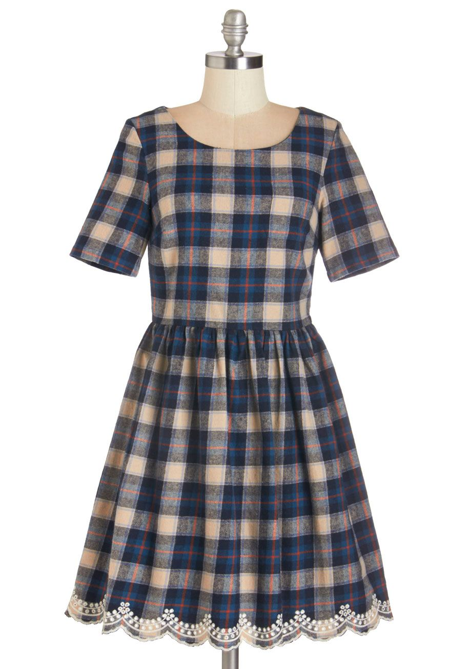 fe9159e913 In the Audience Dress. Sitting in the front row in this plaid A-line dress  by Yumi