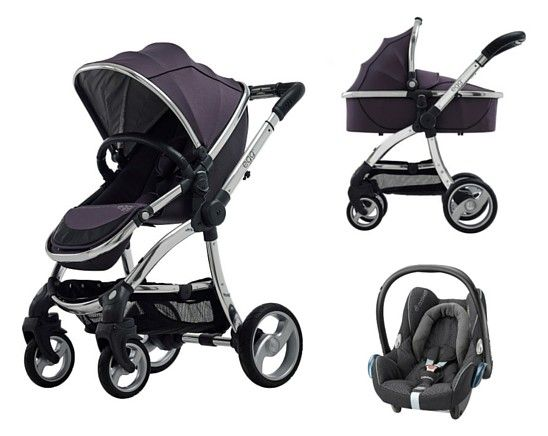 Egg Pram Package Storm Grey With Mirror Chassis Baby