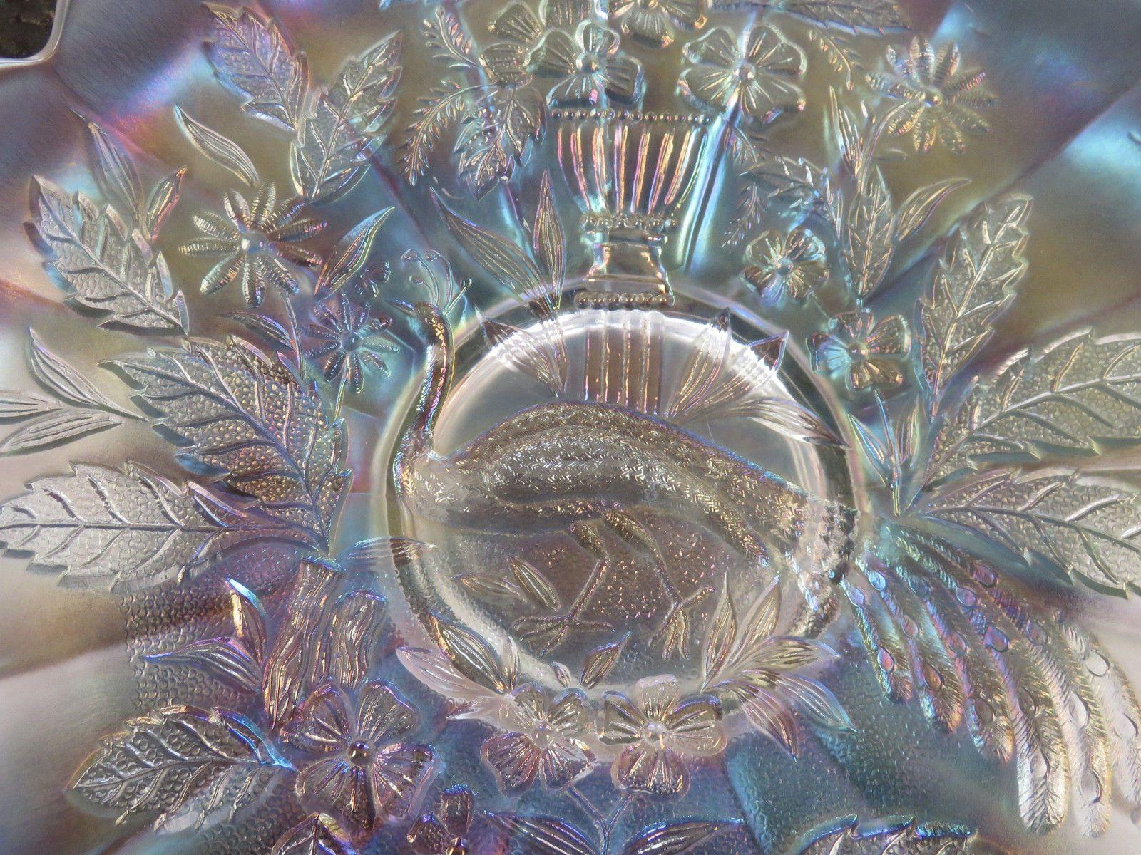 Scarce Northwood Peackock and Urn White Carnival Glass Master Ice Cream Bowl | eBay