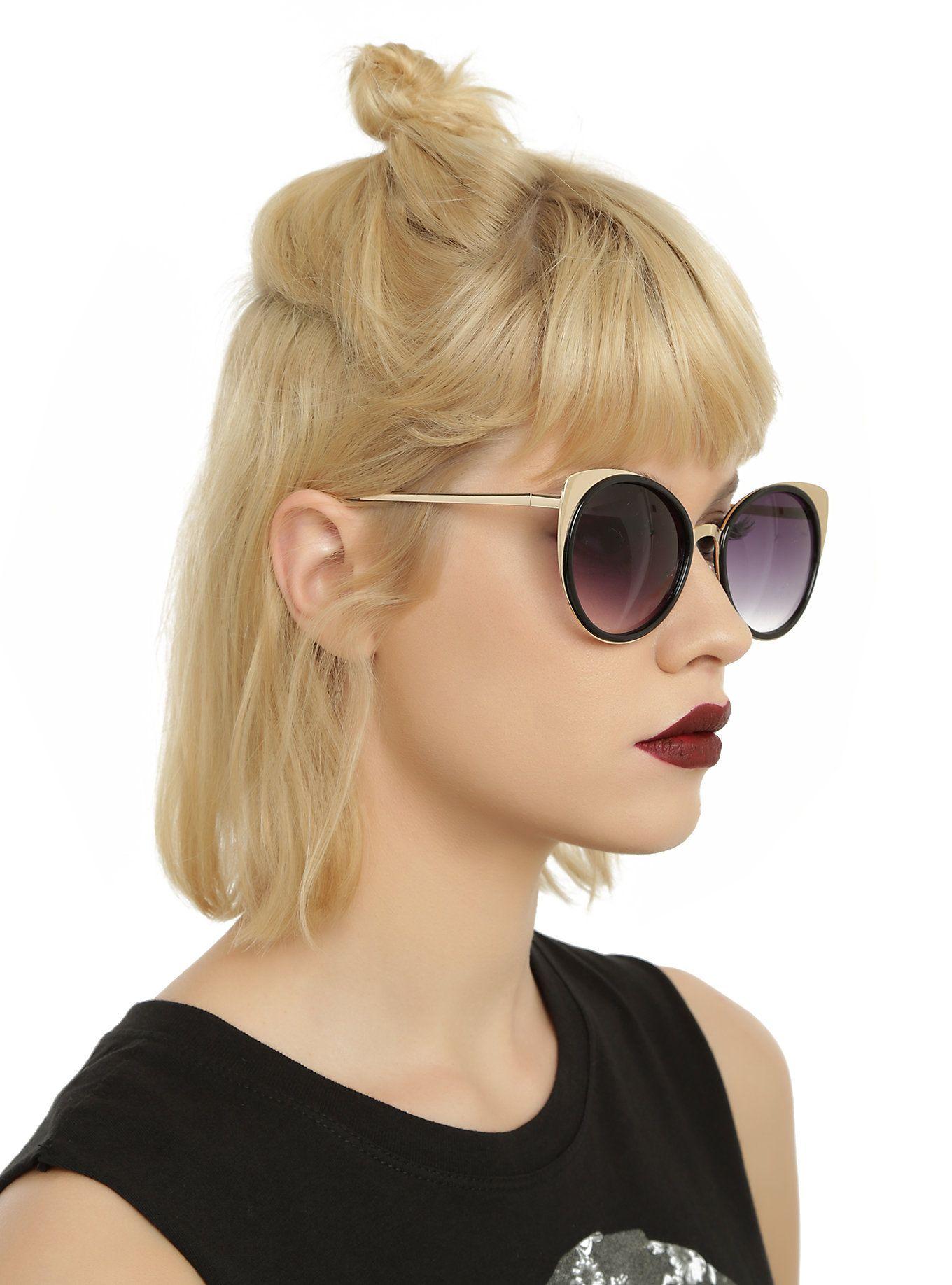 Black & Gold Smoke Lens Cat Eye Sunglasses   Hot Topic