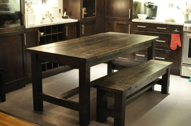 Rustic Farmhouse Style Dining Table 34x72 With Matching Bench