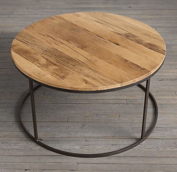 Luxe Kensington Reclaimed Wood Industrial Nest Of Round: Watts Reclaimed Russian Oak Round Coffee Table