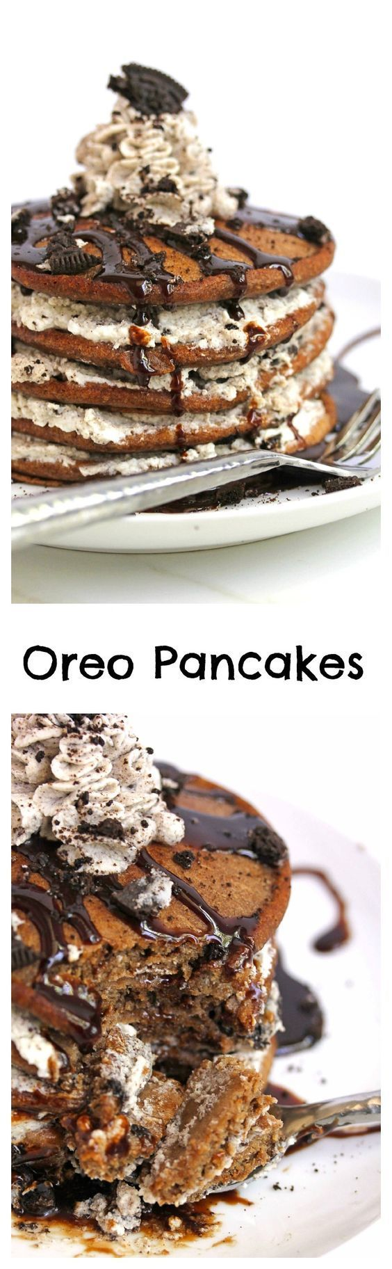 Oreo Pancakes, perfect for Valentines Day morning