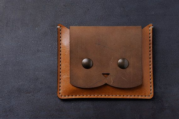 a224c4b47b Italian leather wallet coin purse for women with cat. Genuine leather