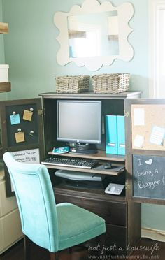 How To Turn An Old Hutch Into A Stylish Functional Office Space. Nicely  Done @Stacy Risenmay !