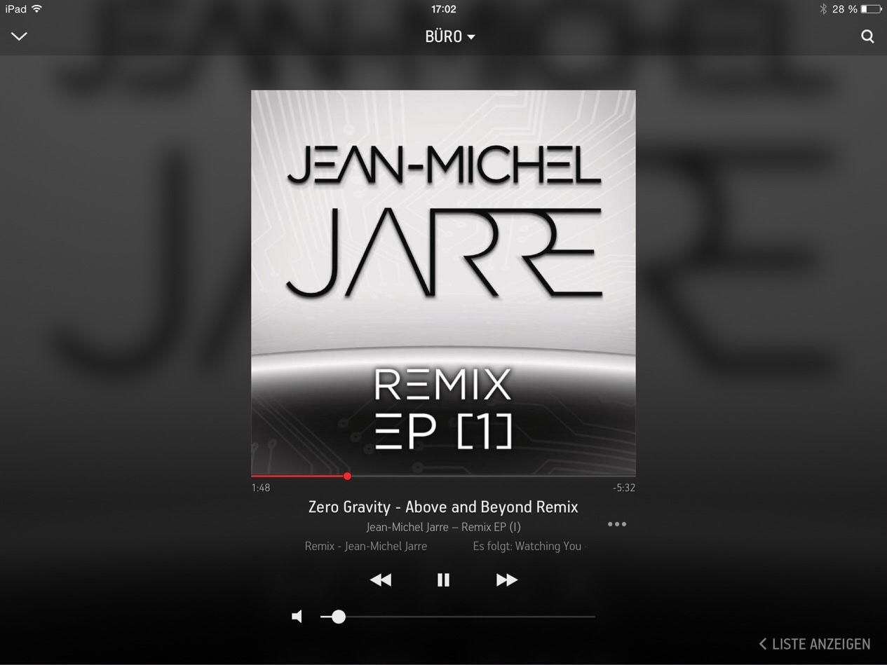 """Auf @Sonos läuft gerade """"Zero Gravity - Above and Beyond Remix"""" von Jean-Michel Jarre #NowPlaying"""