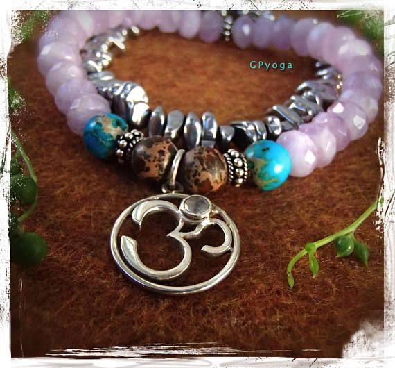 OM Bracelet with Moonstone AMETHYST bracelet Stretch bracelet