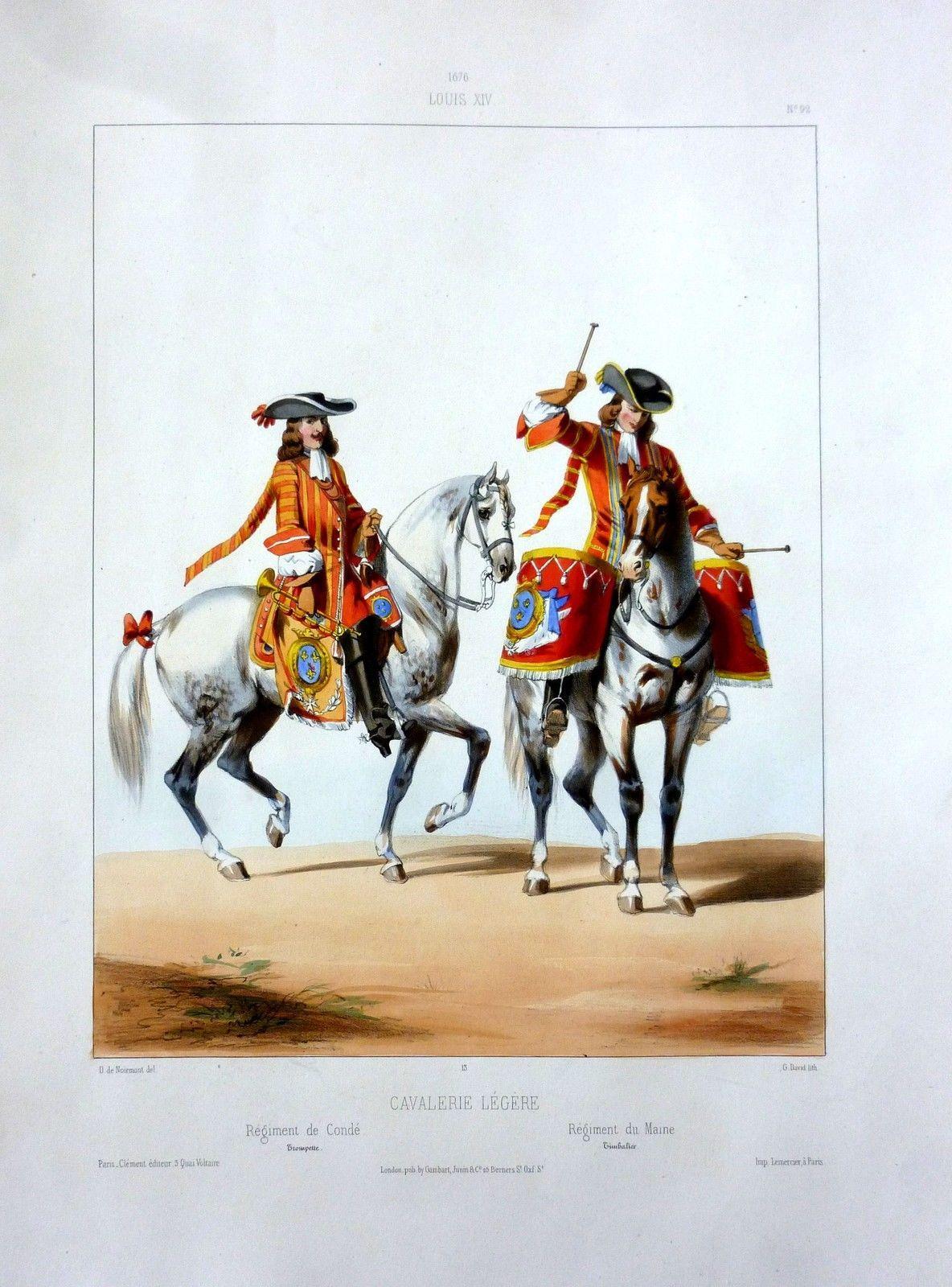Lithographie XIX° Peinte Fixée-1676 LOUIS XIV-Cavalerie Légère,Condé-30 X 40 | eBay